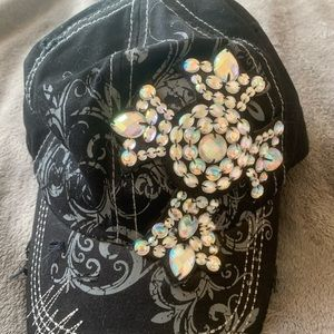 Cross rhinestone ball cap